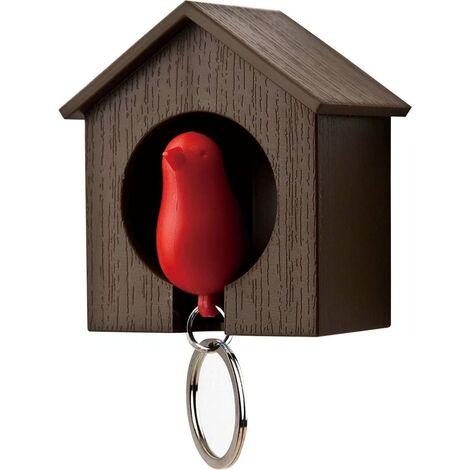 Llavero con casa de madera y gorrión + llavero + pito (Casa marrón + pájaro rojo)