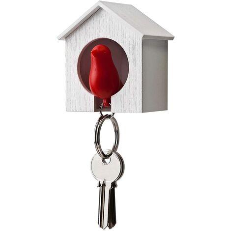 Llavero con casa de madera y gorrión + llavero + silbato (Casa blanca + pájaro rojo)