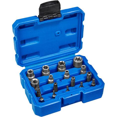 Llaves tubulares Torx exterior juego de puntas 17 - juego de llaves tubulares con maletín, kit de llaves de acero cromo vanadio torx, pack de herramientas manuales para taller - azul