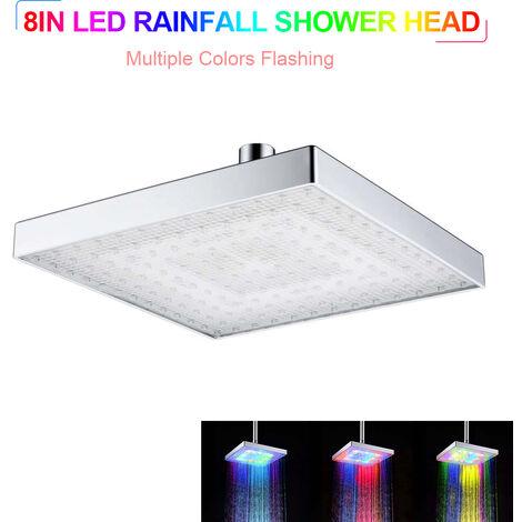 Llevo ducha de lluvia cabeza cuadrada cabeza de ducha de multiples colores automaticamente con cambio de color de ducha para el bano, de plata, multiples colores LED