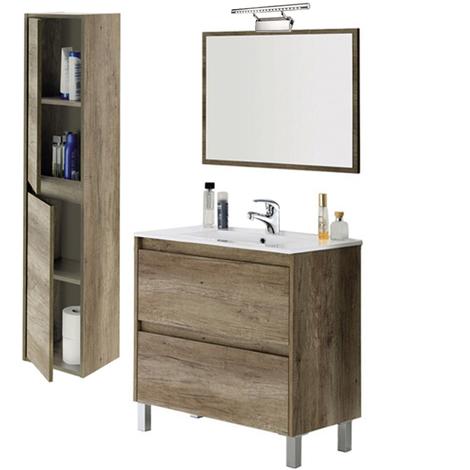 LO LLEVA TODO...Conjunto Baño 2 cajones, Mueble + Espejo + Lavabo + Columna de pared, Lámpara led y Grifo Incluida
