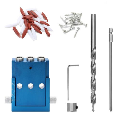 Localizador de orificios oblicuos para carpinteria, juego de plantillas de orificios de bolsillo