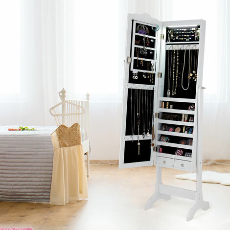 Lockable Mirrored Jewelry Cabinet Room Armoire OrganizerStand LED lights White