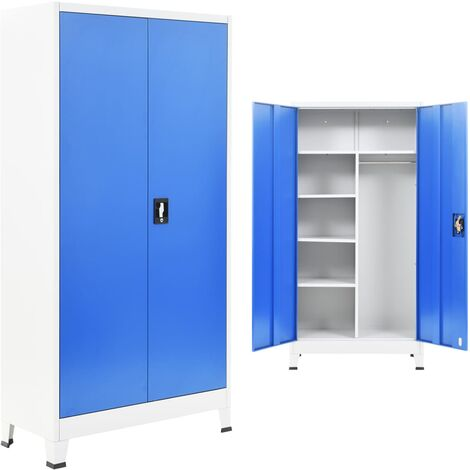 Locker Cabinet with 2 Doors Metal 90x40x180 cm Grey and Blue - Blue