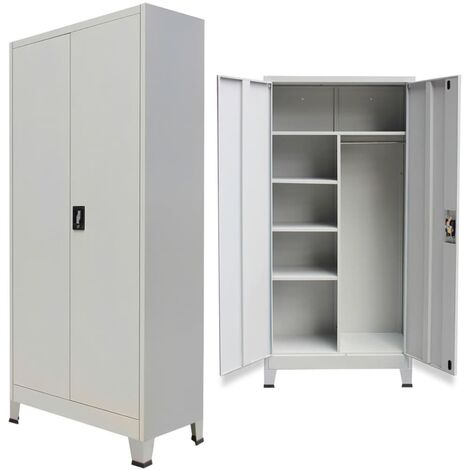Locker Cabinet with 2 Doors Steel 90x40x180cm Grey