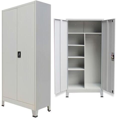Locker Cabinet with 2 Doors Steel 90x40x180cm Grey - Grey