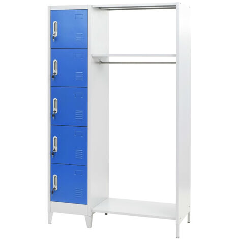 Locker Cabinet with Coat Rack Blue and Grey 110x45x180 cm Metal
