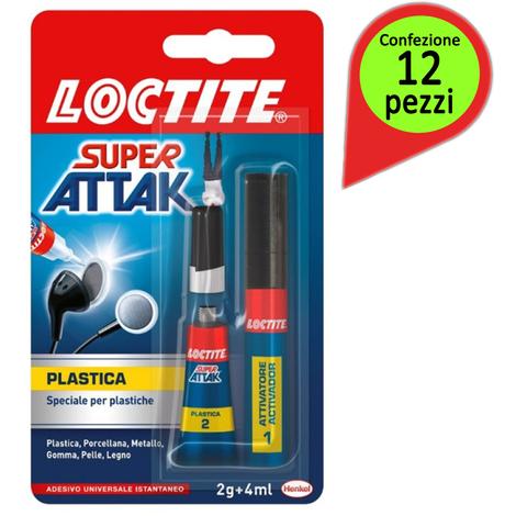 Loctite colla super attak plastica confezione da 12 tubi da 2 gr + 4 milliliter