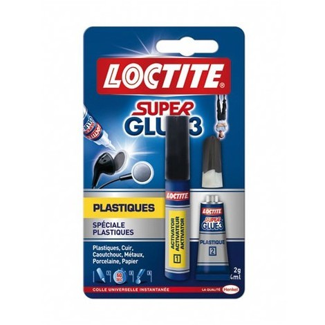 LOCTITE - Colle Super glue3 pour plastique - 2 g + 4 mL