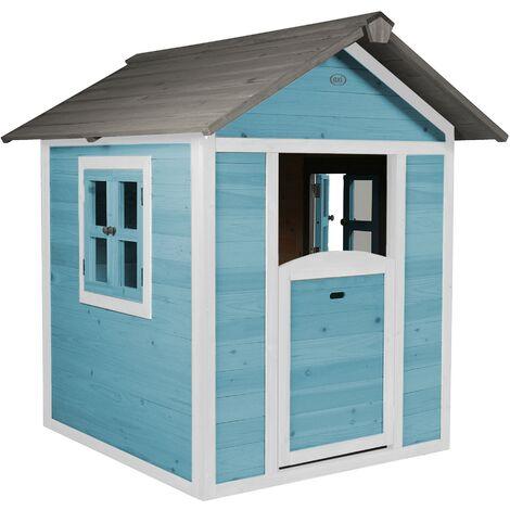 Lodge Playhouse bleue: Maisonnette pour enfants, fenêtres intégrées et bois très résistant