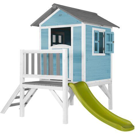 Lodge XL Playhouse bleue: Maisonnette pour enfants, fenêtres intégrées et bois très résistant