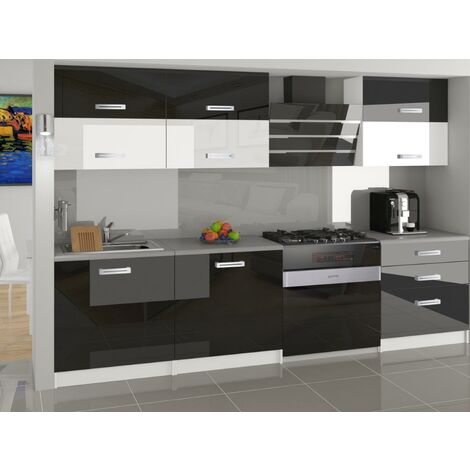 LOFT | Cuisine Complète Modulaire Linéaire L 180 cm 6 pcs | Plan de travail INCLUS | Ensemble armoires cuisine GLOSS - Noir-Blanc