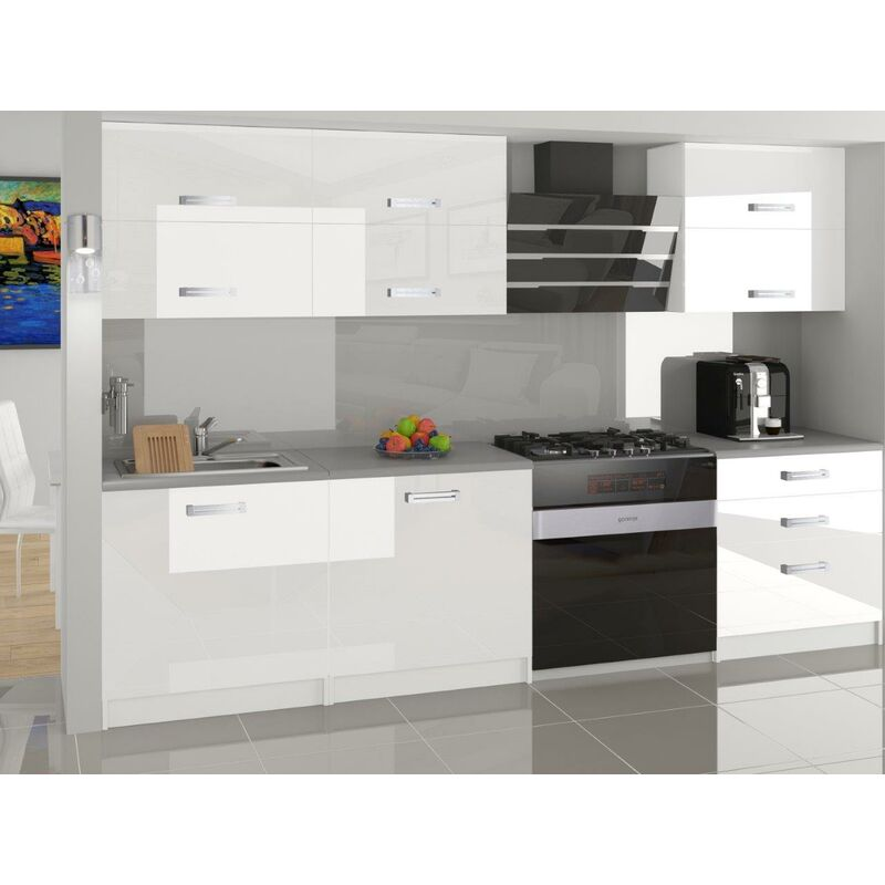 LOFT   Cuisine Complète Modulaire Linéaire L 180 cm 6 pcs   Plan de travail INCLUS   Ensemble armoires finition brillante - Blanc