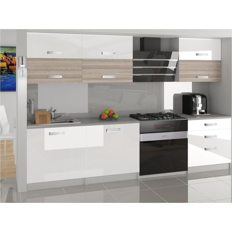LOFT   Cuisine Complète Modulaire Linéaire L 180 cm 6 pcs   Plan de travail INCLUS   Ensemble armoires finition laquée   Blanc
