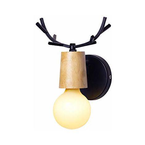 Loft (Negro)Lámpara de Pared Creativa de Ciervo Metal Madera E27 Aplique de pared Para Casa niño Dormitorio Hotel Bar Restaurante (Negro)