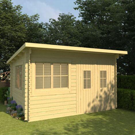 Log Cabin 34 mm 416x345x236,2 cm Solid Pinewood