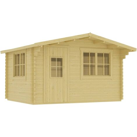 Log Cabin 44 mm with Floor 400x376x243.5 cm Solid Pinewood