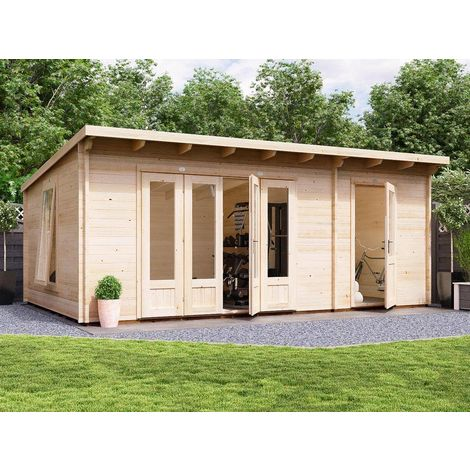 Log Cabin BundleDuck 6m x 4m - Integrated Storage Room Garden Office Home Studio Summerhouse Shed 45mm Walls Double Glazed and Roof Felt