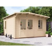 Log Cabin DungeonX 4mx4m - Multi Room Garden Home Office Man Cave Storage Toughened Glass and Roof Felt Included