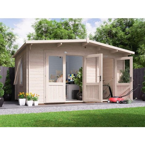 Log Cabin EvilJeff 4.5mx3m - Multi Room Garden Home Office Man Cave Summerhouse Storage Shed 28mm Walls Toughened Glass and Roof Shingles