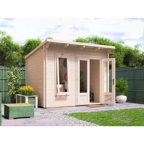 Log Cabin Garden Office Man Cave Garden Room Summerhouse Terminator - W3m x D2.5m (45mm)