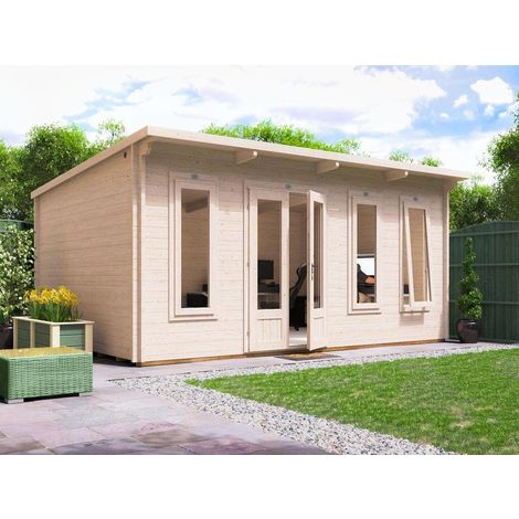 Log Cabin Garden Office Man Cave Garden Room Summerhouse Terminator - W5m x D3.5m (45mm)