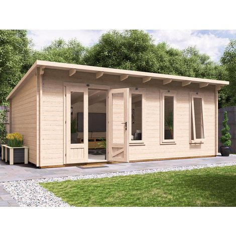 Log Cabin Garden Office Man Cave Garden Room Summerhouse Terminator - W6m x D4m (45mm)