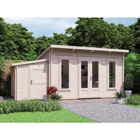 Log Cabin Garden Office Man Cave Garden Room Summerhouse Terminator with SideStore - W5.5m x D3m (45mm)