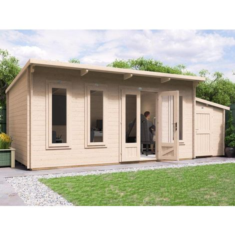 Log Cabin Garden Office Man Cave Garden Room Summerhouse Terminator with SideStore - W6.5m x D3.5m (45mm)