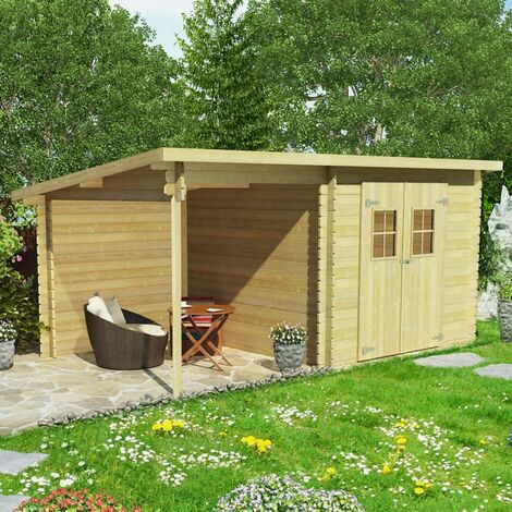 Log Cabin Garden Shed Solid Wood 28 mm 5.3x3 m
