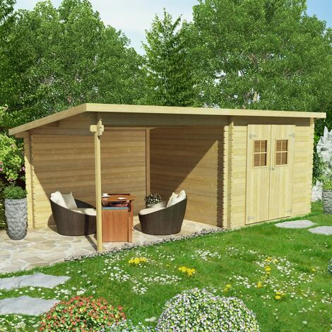 Log Cabin Garden Shed Solid Wood 28 mm 6.3x3 m