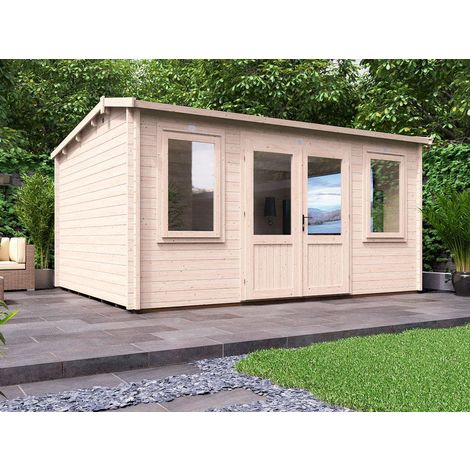 Log Cabin Lantera - Summer House Garden Office Workshop 45mm Walls with Toughened Glass and Roof Felt Included