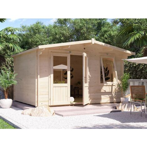 """main image of """"Log Cabin Rhine - Garden Summer House Workshop Shed 45mm Walls with Toughened Glass and Roof Felt Included"""""""