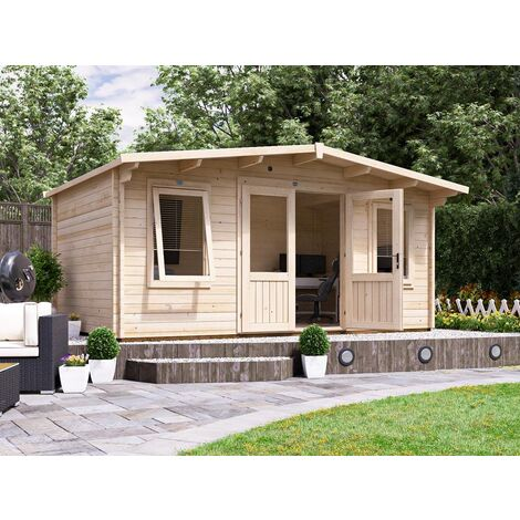 """main image of """"Log Cabin Severn - Garden Home Office Man Cave Workshop 45mm Walls with Toughened Glass and Roof Felt Included"""""""