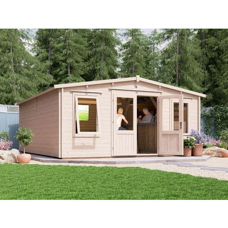 """main image of """"Log Cabin SuperSevern 5mx6m - Games Room Extension Summer House Garden Office Man Cave 45mm Walls Double Glazed and Roof Shingles"""""""