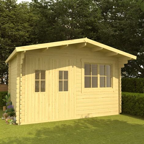 Log Cabin with Floor 34 mm 400x376x256.5 cm Solid Pinewood