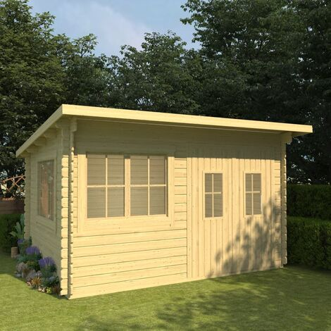 Log Cabin with Floor 34 mm 416x345x236,2 cm Solid Pinewood