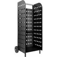 Log holder wagon extra wide - indoor log storage, log rack, fireplace log holder - black