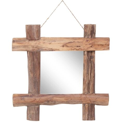 Log Mirror Natural 50x50 cm Solid Reclaimed Wood