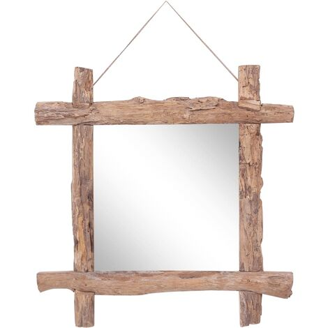 Log Mirror Natural 70x70 cm Solid Reclaimed Wood
