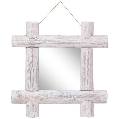 Log Mirror White 50x50 cm Solid Reclaimed Wood