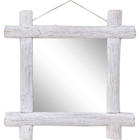 Log Mirror White 70x70 cm Solid Reclaimed Wood