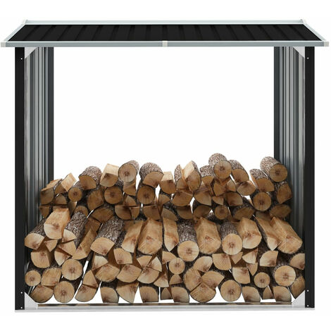 Log Storage Shed Galvanised Steel 172x91x154 cm Anthracite