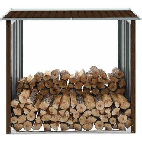 Log Storage Shed Galvanised Steel 172x91x154 cm Brown