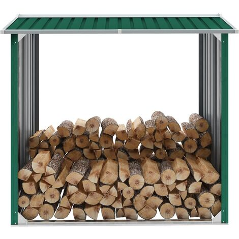 Log Storage Shed Galvanised Steel 172x91x154 cm Green