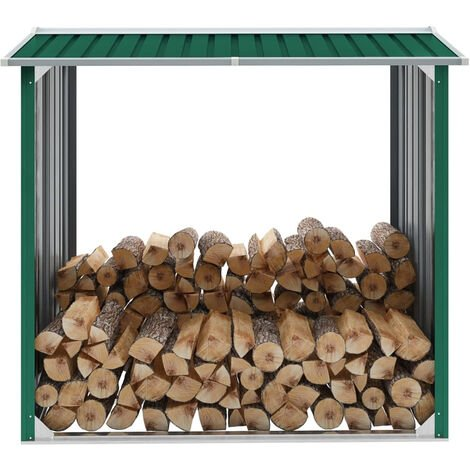 Log Storage Shed Galvanised Steel 172x91x154 cm Green