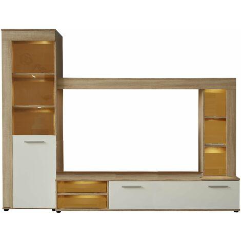 LOGO - Meuble salon/séjour en mélaminé. Meuble TV (max 55 pouces) avec de l'espace de rangement. L-H-P : 240-185-41 cm - Bois/Blanc