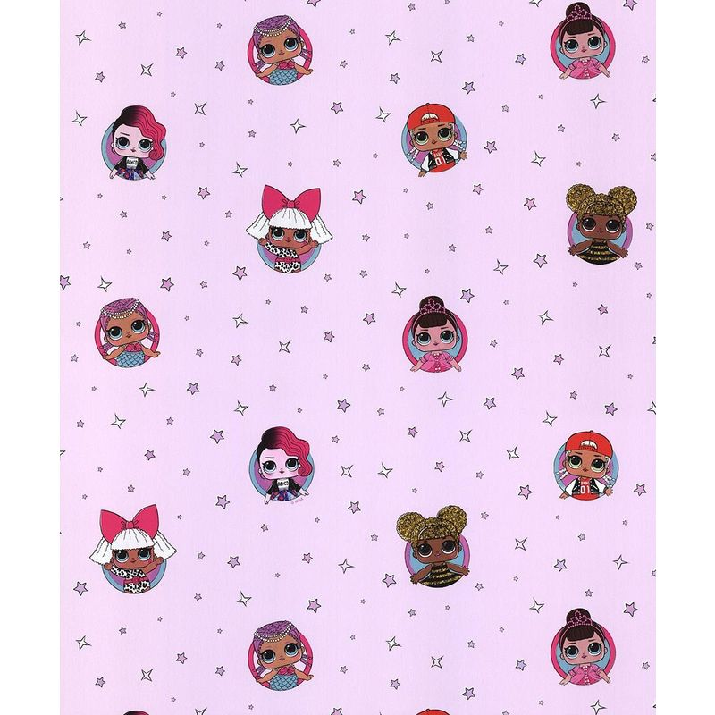 Image of Debona LOL Surprise Wallpaper Childrens Kids Girls Bedroom Baby Pink Stars