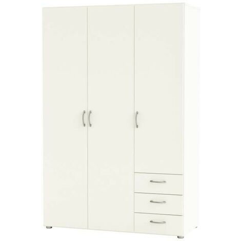 LOL3 Armoire de chambre style contemporain blanc perle - L 121 cm