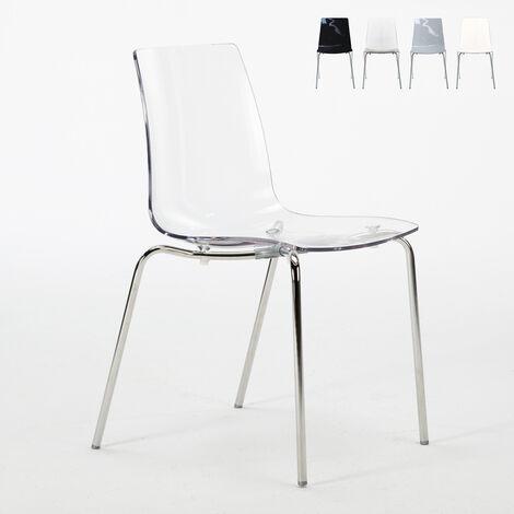 Lollipop Grand Soleil conjunto de 12 sillas con patas de acero | Transparente